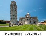 pisa tower and cathedral on... | Shutterstock . vector #701658634