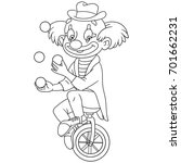 coloring page of cartoon clown... | Shutterstock .eps vector #701662231
