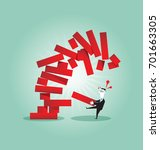 businessman pull block out tower | Shutterstock .eps vector #701663305