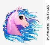 pony girl head vector isolated. ... | Shutterstock .eps vector #701664307