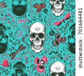 lovely seamless pattern with... | Shutterstock .eps vector #701664481