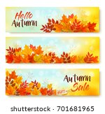 three autumn sale banners with... | Shutterstock .eps vector #701681965