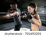 coed boxing gym training class... | Shutterstock . vector #701692201