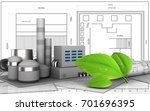 3d illustration of factory over ... | Shutterstock . vector #701696395