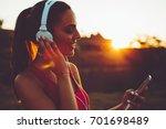 beautiful young sports woman... | Shutterstock . vector #701698489