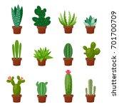 set of desert or room green... | Shutterstock .eps vector #701700709