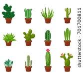 set of desert or room green... | Shutterstock .eps vector #701700811