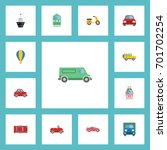 flat icons truck  streetcar ... | Shutterstock .eps vector #701702254