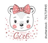 Stock vector cute little bear girl for print t shirt baby clothes childish design 701719945