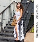 vacation. a girl in a light... | Shutterstock . vector #701721091
