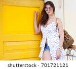 a beautiful girl in a... | Shutterstock . vector #701721121