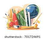 school supplies in a creative... | Shutterstock .eps vector #701724691