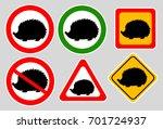 hedgehog sign on gray... | Shutterstock .eps vector #701724937