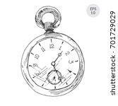 pocket watch in retro style... | Shutterstock .eps vector #701729029