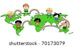 multi culture kids on the world ... | Shutterstock .eps vector #70173079