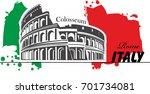 travel.italy  colosseum. time... | Shutterstock .eps vector #701734081