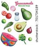 guacamole ingredients handdrawn ...   Shutterstock . vector #701734189