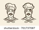 portrait of happy chef  cook.... | Shutterstock .eps vector #701737087