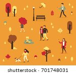 autumn season background with... | Shutterstock .eps vector #701748031