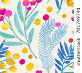 seamless floral pattern on... | Shutterstock . vector #701749741