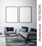 mock up poster frame in pastel... | Shutterstock . vector #701756245