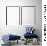 mock up poster frame in pastel... | Shutterstock . vector #701756251