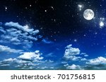 night sky with stars and moon | Shutterstock . vector #701756815