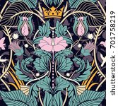 floral vintage seamless pattern.... | Shutterstock .eps vector #701758219
