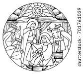 birth of jesus christ scene in... | Shutterstock . vector #701761039
