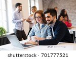 two young architects working on ... | Shutterstock . vector #701777521