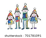happy family kids drawing...   Shutterstock . vector #701781091
