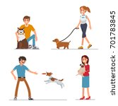 Stock vector people walking and playing with their dogs flat style vector illustration isolated on white 701783845