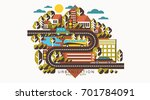 urban and village landscape... | Shutterstock .eps vector #701784091