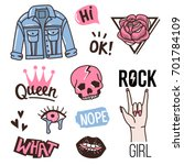 Stock vector fashion cute patches or stickers set vintage doodles stamps vector trendy illustration 701784109