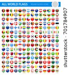 all world flags   round glossy... | Shutterstock .eps vector #701784907