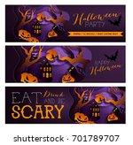 set happy halloween poster ... | Shutterstock .eps vector #701789707