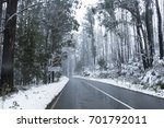 snow on trees and road in... | Shutterstock . vector #701792011