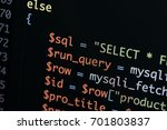 real php code developing screen.... | Shutterstock . vector #701803837