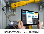 engineer hand using tablet ... | Shutterstock . vector #701805061