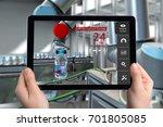 engineer hand using tablet ... | Shutterstock . vector #701805085