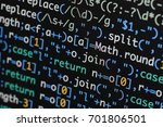 Small photo of Real Java Script code developing screen. Programing workflow abstract algorithm concept. Closeup of Java Script and HTML code.