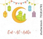 cute eid al adha greeting card... | Shutterstock .eps vector #701814781