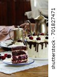 black forest cake ... | Shutterstock . vector #701827471