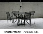 umbrella dining table and chair  | Shutterstock . vector #701831431
