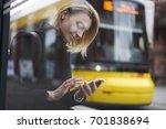 smiling blonde hipster girl... | Shutterstock . vector #701838694