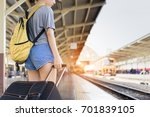 young girl asian backpack... | Shutterstock . vector #701839105