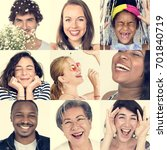collage of people smiling... | Shutterstock . vector #701840719