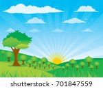 farm flat landscape. farm... | Shutterstock .eps vector #701847559