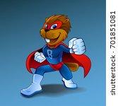 super beaver in costume... | Shutterstock .eps vector #701851081