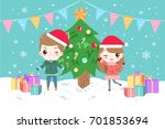 cartoon children with merry... | Shutterstock .eps vector #701853694